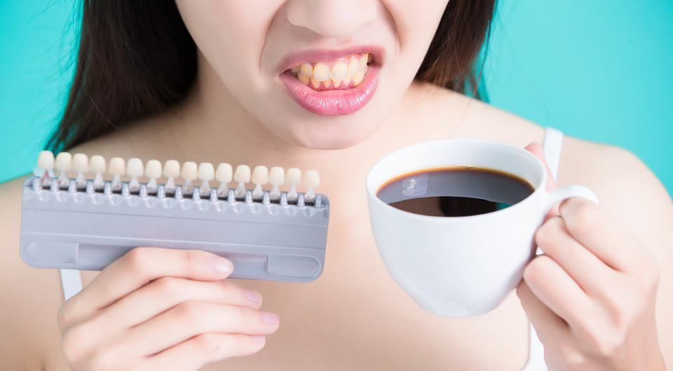 Food and drinks can stain teeth turning them yellow